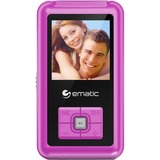 "Ematic EM208VID 8 GB Pink Flash Portable Media Player - Photo Viewer, Video Player, Audio Player, FM Tuner, Voice Recorder, e-Book, FM Recorder - 1.5"" Color LCD - USB - Headphone"
