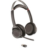 Plantronics Voyager Focus Noise-canceling Headset - Stereo - Wireless - Bluetooth - 150 ft - Over-the-head - Binaural - Supra-aural