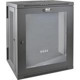 "Tripp Lite SRW15USG SmartRack 15U Low-Profile Switch-Depth WallMount Rack Enclosure Cabinet - For LAN Switch, Patch Panel - 15U Rack Height x 19"" (482.60 mm) Rack Width x 10.42"" (264.67 mm) Rack Depth - Wall Mountable - Black Powder Coat - Acrylic, Steel"