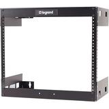 "C2G 8U Wall Mount Open Frame Rack - 18in Deep - For LAN Switch - 8U Rack Height x 19"" (482.60 mm) Rack Width - Wall Mountable - Black Textured, Black Powder Coat - 68.04 kg Maximum Weight Capacity"