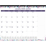 """Blueline Geometric Design Monthly Desk Pad - Yes - Monthly, Daily - 1 Year - January 2020 till December 2020 - 1 Month Single Page Layout - 22"""" x 17"""" - Desk Pad - Multicolor - Chipboard - Reference Calendar, Tear-off, Bilingual, Notes Area, Reminder Secti"""