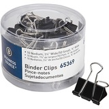 Business Source Small/Medium Binder Clips Set - Small, Medium - for Paper, Project, Document - 60 / Pack - Black - Steel, Zinc