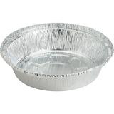 "Genuine Joe Round Aluminum Food Container Set - 7"" (177.80 mm) Diameter Food Container, Lid - Aluminum - Cooking, Serving - Silver - 250 Piece(s) / Carton"