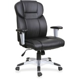 """Lorell High-back Leather Executive Chair - Bonded Leather Seat - Bonded Leather Back - Black - 28.9"""" Width x 28.5"""" Depth x 46"""" Height"""