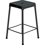 "Safco Steel Counter Stool - Four-legged Base - Black - Steel - 13"" Seat Width x 13"" Seat Depth - 17.8"" Width x 17.8"" Depth x 25"" Height"
