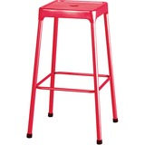"Safco Steel Bar Stool - Four-legged Base - Red - Steel - 13"" Seat Width x 13"" Seat Depth - 17.8"" Width x 17.8"" Depth x 29"" Height"