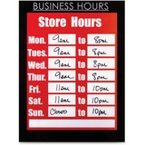 "Glolite Nu-dell 8.5"" x 11"" Magnetic Business Hours Sign Holder, Black - Plastic, Fabric - 1 Each - Black"
