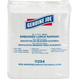 "Genuine Joe 1-ply Embossed Lunch Napkins - 1 Ply - Quarter-fold - 13"" x 11.3"" - White - Embossed, Versatile, Soft - For Lunch - 400 Quantity Per Pack - 400 / Pack"
