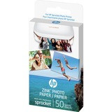 "HP Zero Ink (ZINK) Print Photo Paper - 2"" x 3"" - 290 g/m² Grammage - Glossy - 50 / Pack - White"