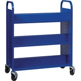 "Lorell Double-sided Book Cart - 6 Shelf - Round Handle - 5"" (127 mm) Caster Size - Steel - 38"" Width x 18"" Depth x 46.3"" Height - Blue"