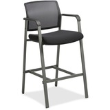 "Lorell Mesh Back Guest Stool - Fabric Black Seat - Square Base - 23.6"" Width x 22.9"" Depth x 42.9"" Height"