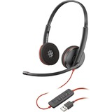 Plantronics Blackwire C3220 Headset - Stereo - USB Type A - Wired - 20 Hz - 20 kHz - Over-the-head - Binaural - Supra-aural - Noise Cancelling Microphone - Black