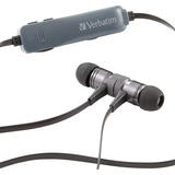 Verbatim Bluetooth Stereo Earphones with Microphone - Black - Stereo - Wireless - Bluetooth - 16 Ohm - 20 Hz - 20 kHz - Earbud, Behind-the-neck - Binaural - In-ear - Black