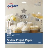 """Avery® Inkjet Print Printable Adhesive Paper - Letter - 8 1/2"""" x 11"""" - 3 / Pack - Silver"""