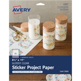 """Avery® Inkjet Print Printable Adhesive Paper - Letter - 8 1/2"""" x 11"""" - 7 / Pack - Glossy, Clear"""