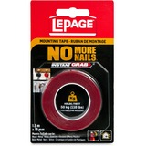 "LePage No More Nails Mounting Tape - 0.75"" (19.1 mm) Width x 4.9 ft (1.5 m) Length - Double-sided, Permanent Adhesive, Water Resistant, UV Resistant - 1 Each"