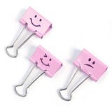 "Victor Emoji Design Binder Clips - 0.30"" (7.62 mm) Length x 1.40"" (35.56 mm) Width - for Classroom, Office - Durable - 20 / Pack - Pink"