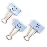 "Victor Emoji Design Binder Clips - 1.20"" (30.48 mm) Length x 1.25"" (31.75 mm) Width - for Classroom, Office - Durable - 20 / Pack - Blue"