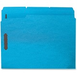 """Business Source Fastener Folders - Letter - 8 1/2"""" x 11"""" Sheet Size - 3/4"""" Expansion - 2 Fastener(s) - 2"""" Fastener Capacity - 1/3 Tab Cut - Assorted Position Tab Location - 11 pt. Folder Thickness - Stock - Blue - Recycled - 50 / Box"""