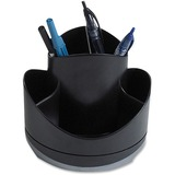 "Storex Iceland Desktop Spinning Organizer - 5.3"" Height x 5.8"" Width - Desktop - Recycled - Black, Silver - 1Each"