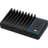 SIIG 10-Port USB-A/C & Wireless Charging Station With Ambient Light Deck - Wired/Wireless - Smartphone, USB Device - Charging Capability - USB Type A, USB Type C - 10 x USB - Black