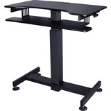 "Lorell Mobile Standing Desk - Rectangle Top - 40"" Table Top Width x 21"" Table Top Depth - 49"" Height - Black"