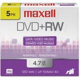 Maxell DVD Rewritable Media - DVD+RW - 4x - 4.70 GB - 5 Pack - 120mm