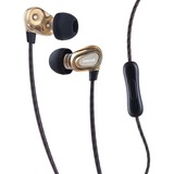 Maxell Dual Driver Earbuds - Stereo - Wired - Earbud - Binaural - In-ear - Gold