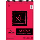 """Canson XL Sketch - 100 Sheets - Twin Wirebound - 50 lb Basis Weight - 74 g/m² Grammage - 9"""" x 12"""" - Micro Perforated, Removable, Erasable, Smooth, Acid-free"""