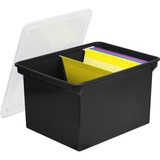"Storex Storage File Tote - External Dimensions: 18.3"" Length x 13.9"" Width x 10.6"" Height - 35 lb - 35.02 L - 3000 x Legal Paper, 3500 x Sheet - Snap-tight Closure - Heavy Duty - Stackable - Polymer - Clear, Black - For File, Letter, Folder - Recycled - 1"