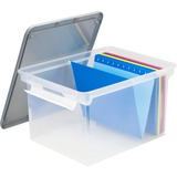 "Storex Storage Case - External Dimensions: 14.5"" Width x 20"" Depth x 11.5"" Height - 35 lb - 35.02 L - 3500 x Sheet - Heavy Duty - Stackable - Plastic - Clear, Gray - For File, Letter, Folder, Document - 4 / Pack"