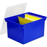 "Storex Storage File Tote - External Dimensions: 14.5"" Width x 19.5"" Depth x 11.5"" Height - 35 lb - 35.02 L - 3500 x Sheet - Snap-tight Closure - Stackable - Plastic - Clear, Blue - For Letter, File, Folder - Recycled - 1 Each"