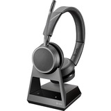 Plantronics Voyager 4220 Office, 2-Way Base, USB-C - Stereo - Wireless - Bluetooth - 300 ft - 32 Ohm - 20 Hz - 20 kHz - Over-the-head - Binaural - Supra-aural - MEMS Technology, Uni-directional, Noise Cancelling Microphone