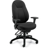 "Global ObusForme 44"" Multi-tier Chair - Black Seat - Black Back - 5-star Base - 26"" Width x 25"" Depth x 44"" Height"