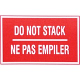 "Spicers Paper Shipping Label - Self-adhesive Adhesive - ""Do Not Stack"" - 3"" Height x 5"" Width - Rectangle - Red, White - 500 / Roll"