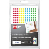 """Avery® See Thru Removable Colour Coding Labels - Removable Adhesive - 1/4"""" Diameter - Round - Laser, Inkjet - Red, Yellow, Green, Blue - 216 / Sheet - 3 Total Sheets - 648 / Pack"""