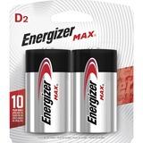 Energizer MAX Alkaline D Batteries, 2 Pack - For Toy, Radio, Flashlight - D - 1.5 V DC - Alkaline - 2 / Pack