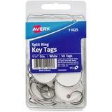 """Avery(R) Metal Rim Key Tags, 1-1/4"""" Diameter Tag, Metal Split Ring, White, 50 Tags (11025)"""