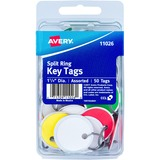 "Avery(R) Metal Rim Key Tags, 1-1/4"" Diameter Tag, Metal Split Ring, Assorted Colors, 50 Tags (11026)"
