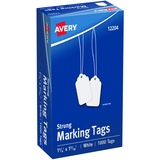 "Avery® Marking Tags, Strung, 1-3/4"" x 1-3/32"", 1,000 Tags (12204)"