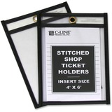 C-Line Stitched Vinyl Shop Ticket Holders - Vinyl - 25 / Box - Clear, Black