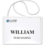 "C-Line Hanging Style Name Badge Holders - 3"" (76.20 mm) x 4"" (101.60 mm) - Vinyl - 50 / Box - Clear"