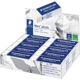 "Staedtler Mars Plastic Eraser - Lead Pencil Eraser - Latex-free, Non-smudge, Smear Resistant, Tear Resistant - Plastic - 0.50"" (12.70 mm) Height x 2.50"" (63.50 mm) Width x 0.87"" (22.10 mm) Depth - 1/Each - White"