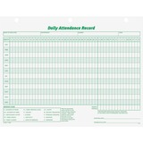 """TOPS Daily Employee Attendance Record Form - 50 Sheet(s) - 11"""" x 8 1/2"""" Sheet Size - 3 x Holes - White Sheet(s) - Green Print Color - 1 Pack"""