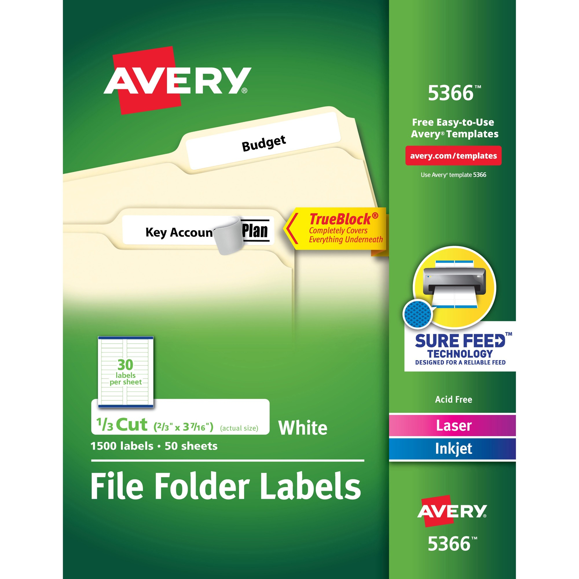 Ave5366 avery permanent file folder labels with trueblock technology ave5366 saigontimesfo
