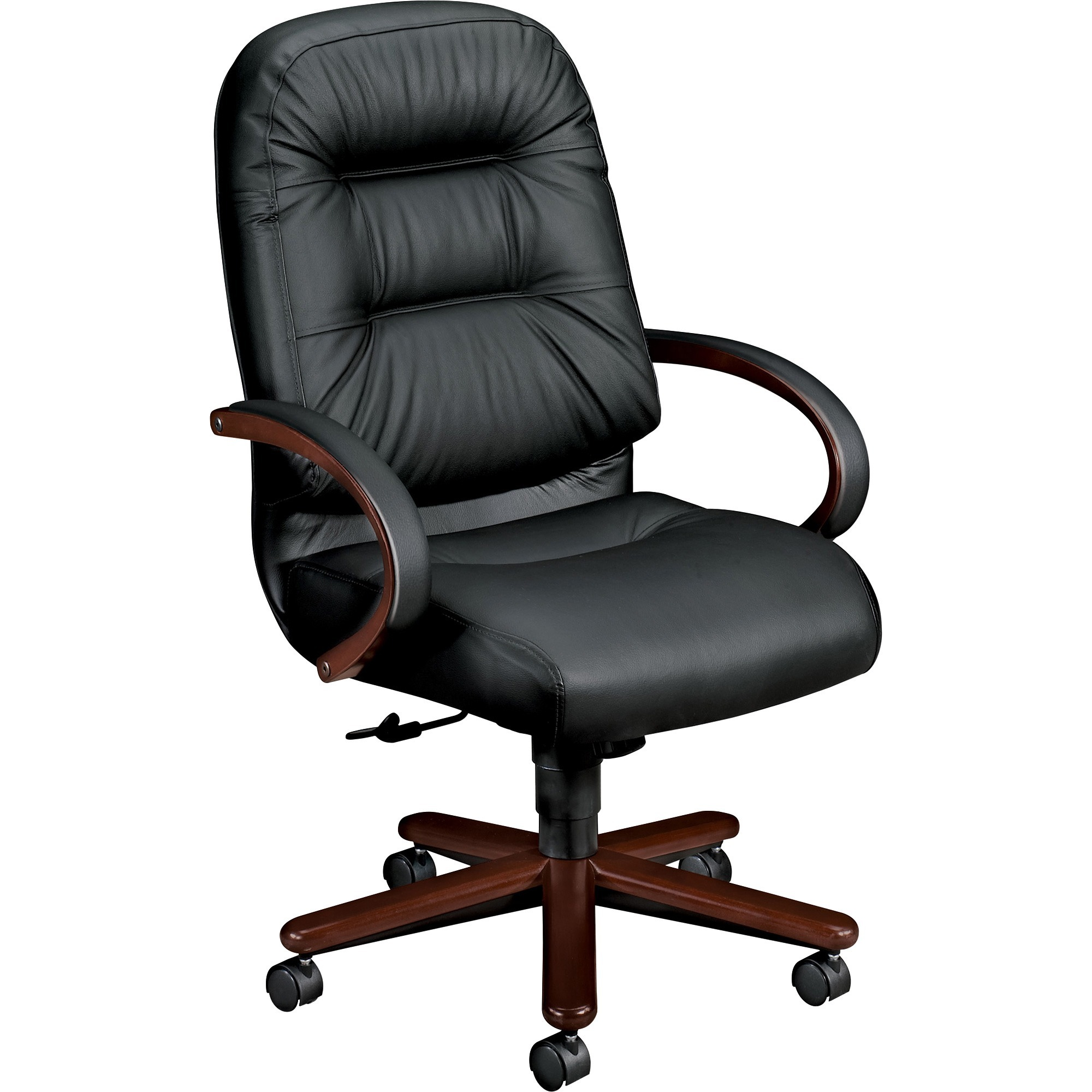"Image result for High-back swivel/tilt chair has upholstered steel frame, ""memory foam"" seat cushion and five-star base with hardwood caps and casters."