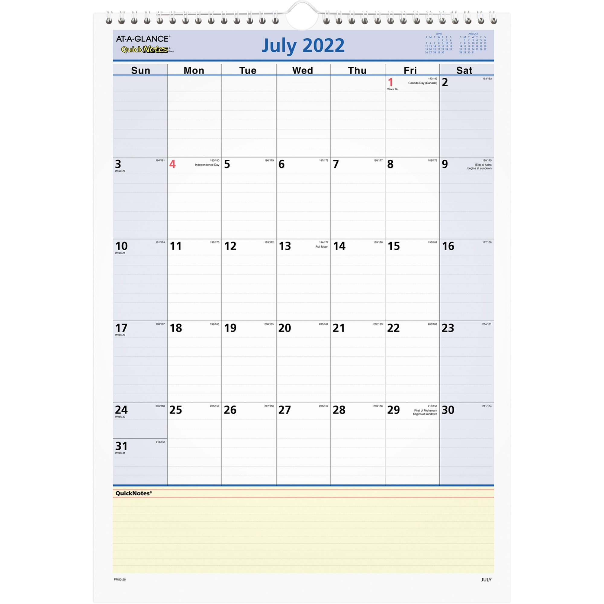 At-A-Glance QuickNotes Academic Monthly Wall Calendar - Yes - Monthly - 1 Year - July 2019 till June 2020 - 1 Month Single Page Layout - 12