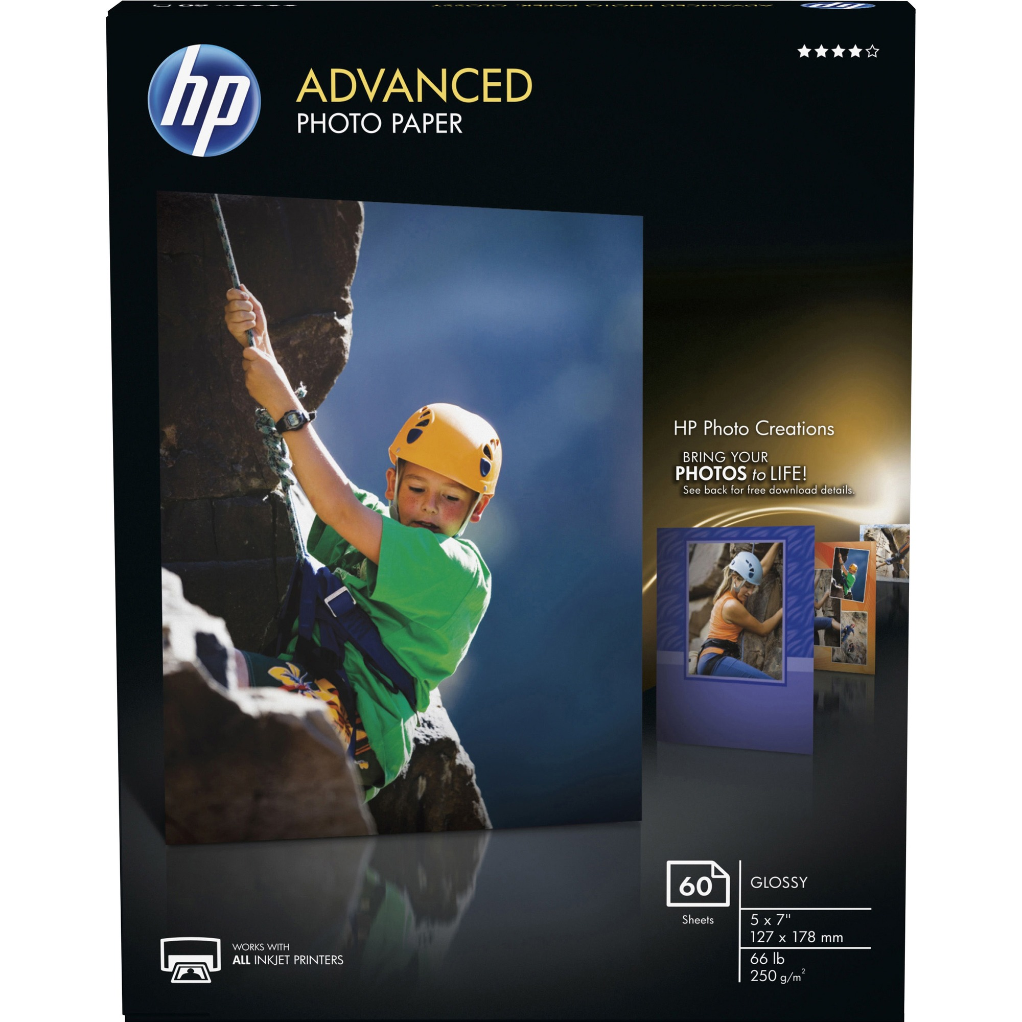 HP Advanced Photo Paper - 5 x 7 - 66 lb Basis Weight - Glossy - 60 / Pack -  White