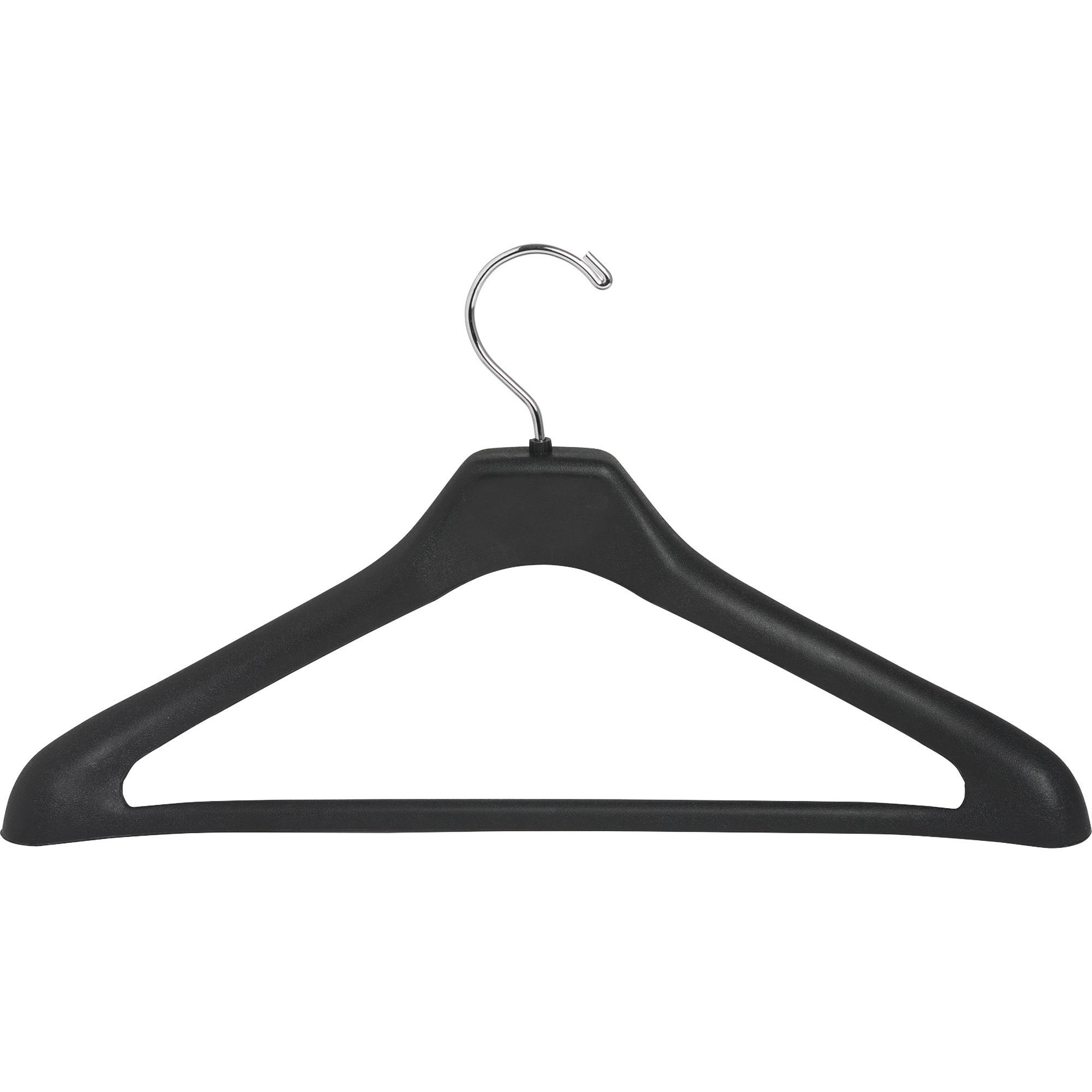 Lorell 1 Piece Plastic Suit Hangers   For Garment   Plastic, Metal   Black    24 / Pack