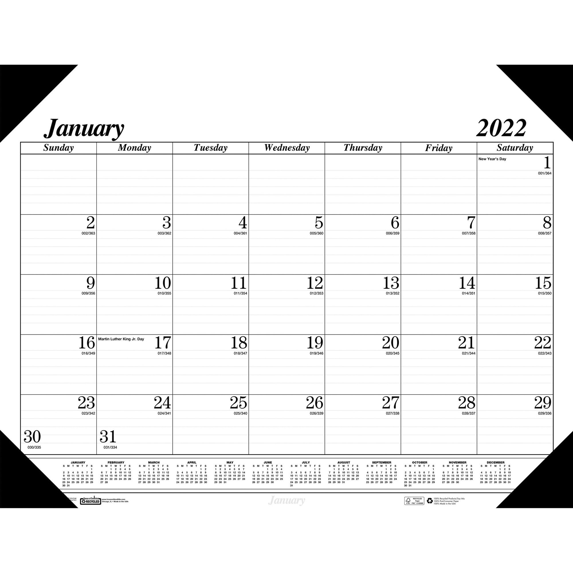 House of Doolittle Recycled Compact Size Economy Desk Pad - Monthly - January 2020 till December 2020 - 1 Month Single Page Layout - 18 1/2
